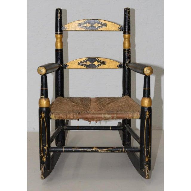 Antique Doll Rocking Chair c.1890s Wonderful 19th century black and gold  doll rocking chair - Antique Doll Rocking Chair C.1890s Chairish