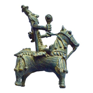 Miniature Bronze Indian Horse and Rider For Sale