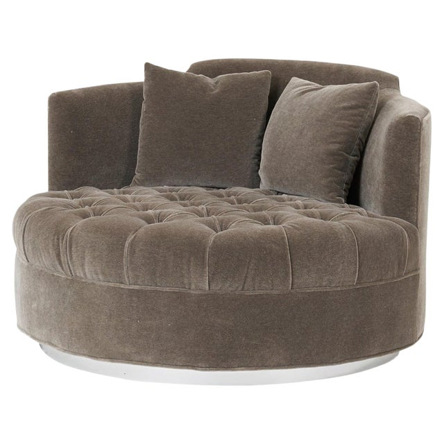 Harvey Probber Large Tufted Swivel Chair on Chrome Base For Sale