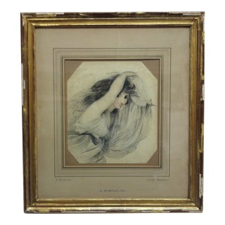 """Antique Pencil Drawing Framed & Matted, """"A Portrait of Lady Hamilton"""" by Richard Westall For Sale"""