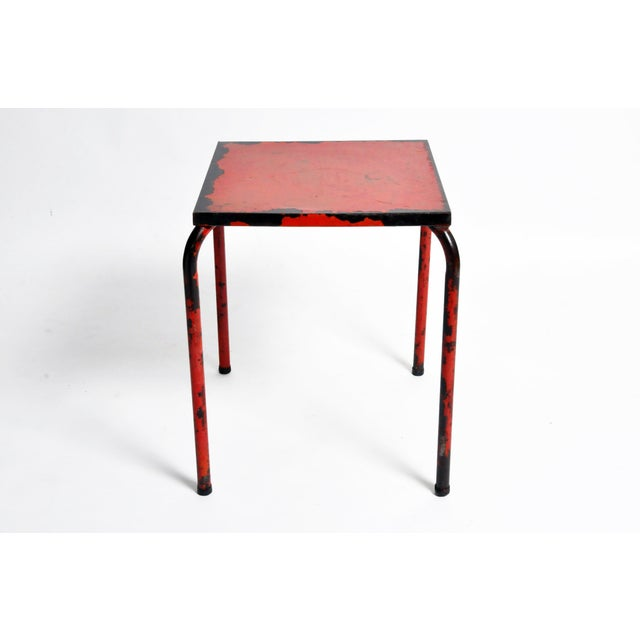 French 1960s French Rustic Red Café Table For Sale - Image 3 of 7