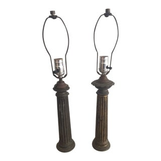 Vintage Brass Fluted Column Lamps With Marble Bases - a Pair For Sale