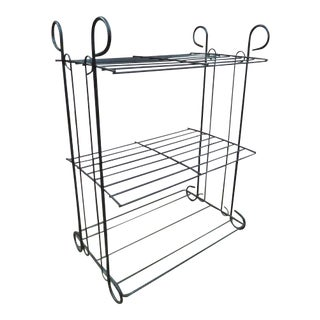 Vintage Mid Century Modern Black Metal 3 Tier Shelf Unit/Plant Stand For Sale