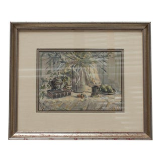 Mid Century California Framed Art Work Water Color, Signed For Sale
