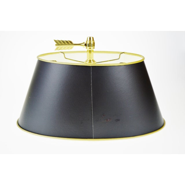 Vintage 1960's Baldwin Brass French Horn Bouillotte Table Lamp For Sale - Image 10 of 11