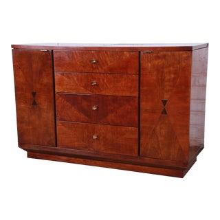 Henredon Art Deco Mahogany and Rosewood Bar Cart Buffet Server For Sale