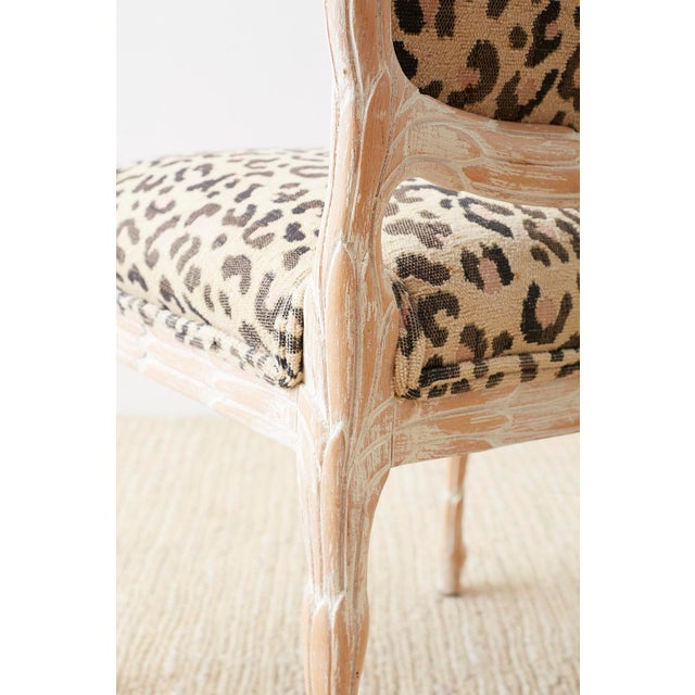 Wood Set of Four Cerused Faux Bois Dining Chairs For Sale - Image 7 of 13