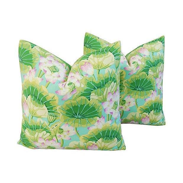 Kaffe Fassett Green Lotus Pillows - A Pair - Image 1 of 8