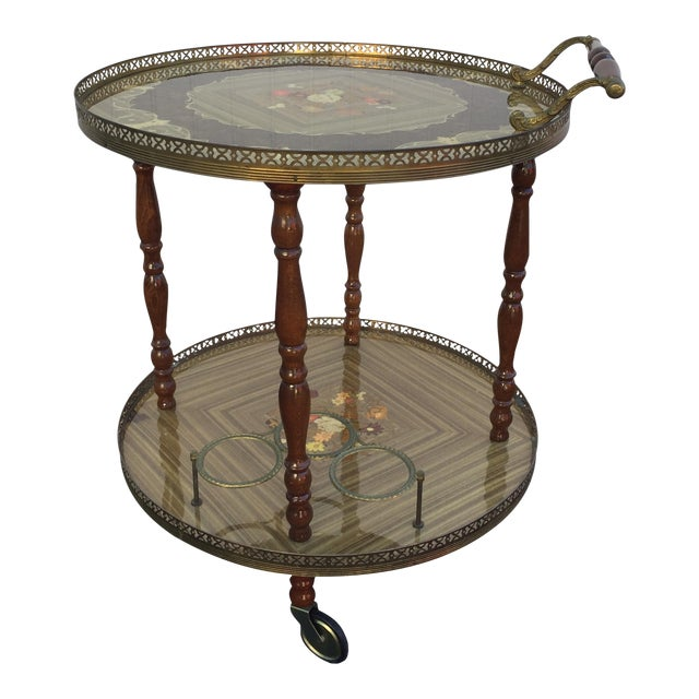 Vintage Sorrento Italian Lacquered Marquetry Bar Cart - Image 1 of 8