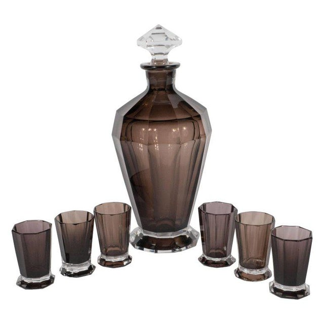 French Art Deco Seven Piece Smoked Glass Bar Set with Decanter and Shot Glasses For Sale - Image 9 of 9