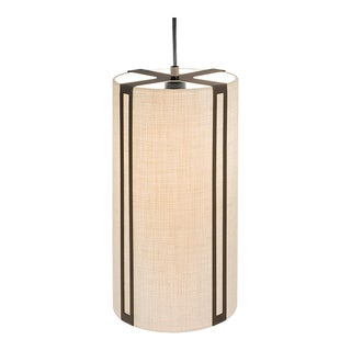 Penny Bronze Suspended Pendant Light With Linen Frame For Sale