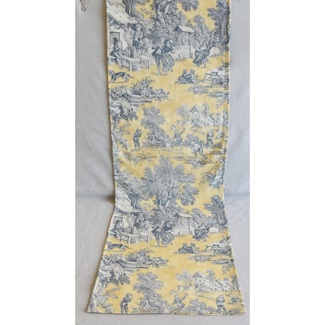 "Custom French Country Farmhouse Toile Table Runner 110"" Long For Sale - Image 4 of 9"