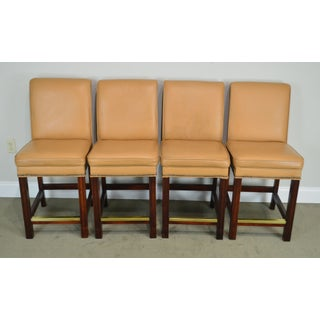 Fairfield Set 4 Tan Leather Bar Stools Preview