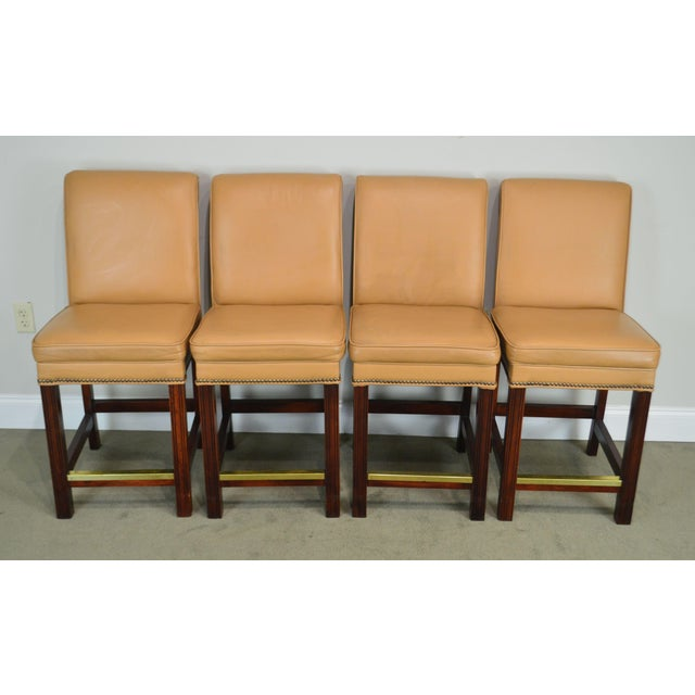 High Quality Set 4 Solid Wood Frame Stools with Leather Upholstery