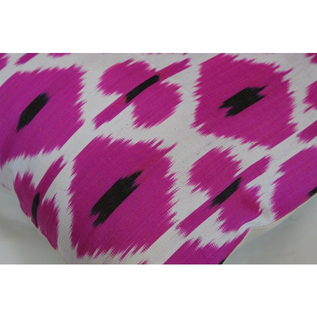 2020s Rose Hand Knotted Turkish Ikat Pillow Cover For Sale - Image 5 of 5
