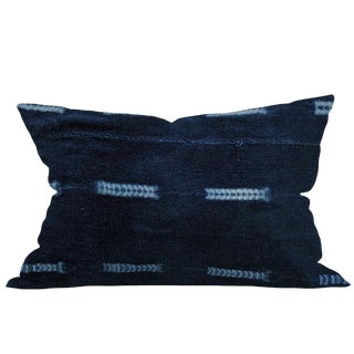 African Indigo Mudcloth Pillow For Sale