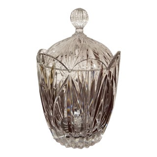 1980s Traditional Crystal Biscuit Jar For Sale