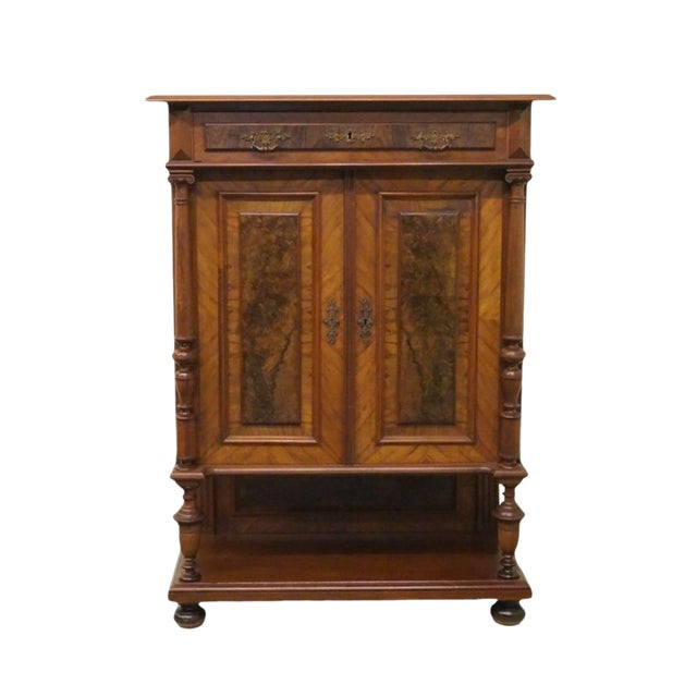 20th Century Traditional Burl Walnut and Mahogany Court Cupboard For Sale