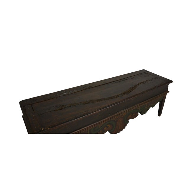 A walnut storage bench with hand painted skirt. Loop hinges. Ideal as a window seat, also works as a bench for the foot of...