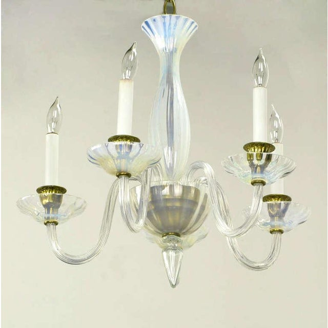Empire Murano Opaline Glass Five Arm Empire Style Chandelier For Sale - Image 3 of 6