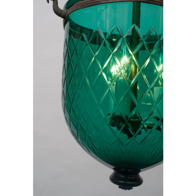 English Green Diamond-Cut Bell Jar Lantern For Sale - Image 3 of 6