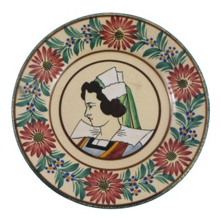 1930s French Faience Quimper Plate For Sale