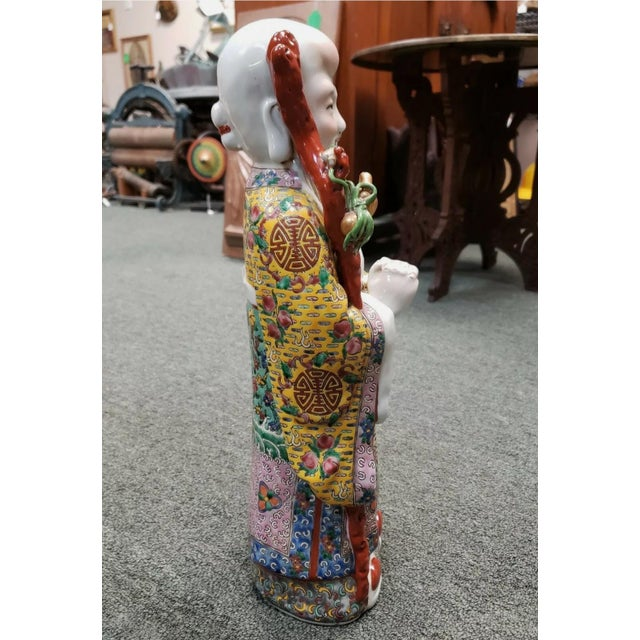 Chinese Circa 1920 Chinese Famille Rose Porcelain Shou Lao Statue (Early Republic) For Sale - Image 3 of 7
