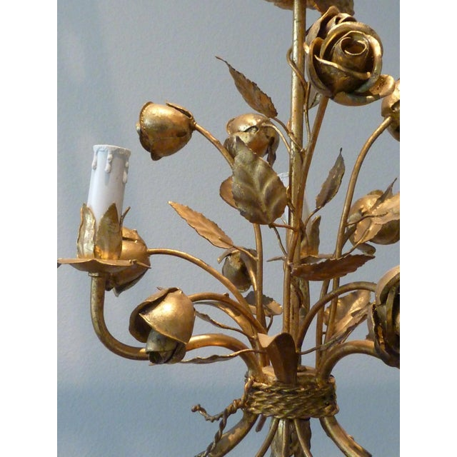 1960s Italian Gilded Rose Flower Chandelier - Image 8 of 8