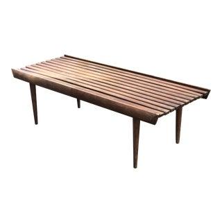 1960s Vintage Slat Wooden Bench For Sale