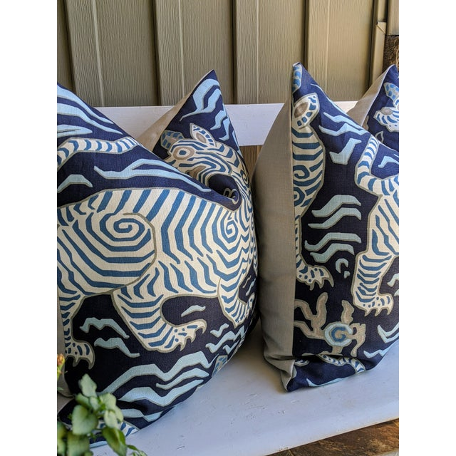 Asian Clarence House Tibet Tiger Chinoiserie Pillow Covers - a Pair For Sale - Image 3 of 4