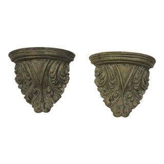 Plaster Acanthus Leaf Wall Sconce Shelves - A Pair For Sale