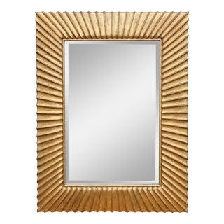 Modern Sunburst Carved Giltwood Mirror For Sale
