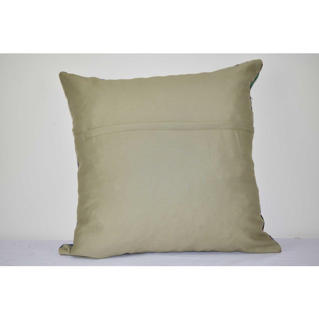 """1960s Turkish Suzani Pillow 24"""" X 24"""" For Sale - Image 5 of 6"""
