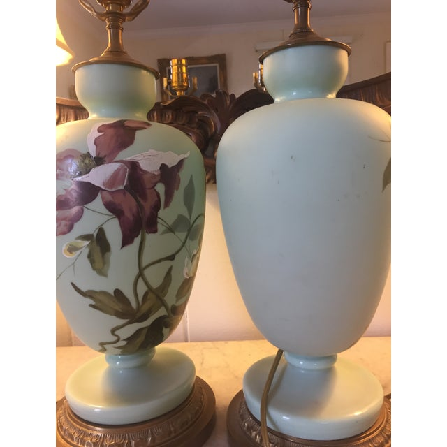 1930s Hand Painted Porcelain Lamps - a Pair For Sale In Greenville, SC - Image 6 of 12