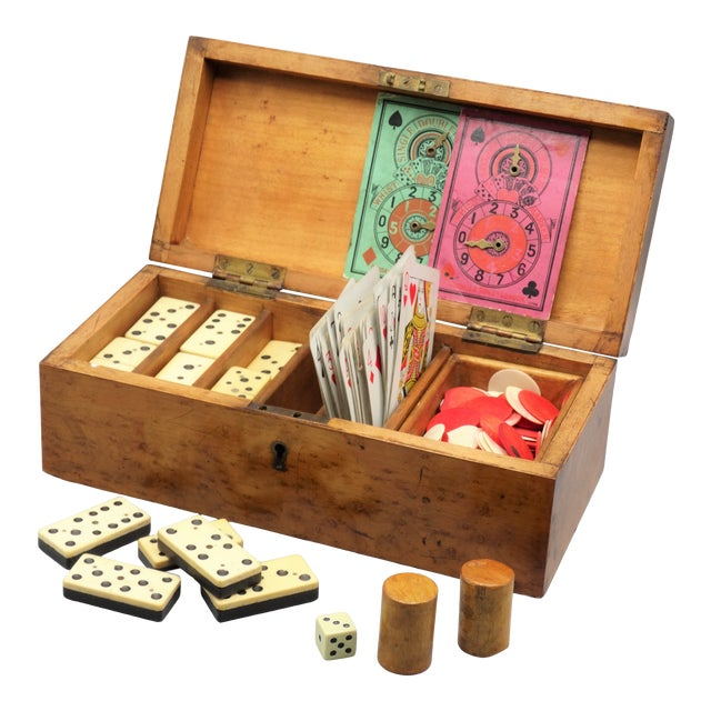 Antique Birds Eye Maple Games Box & Contents For Sale