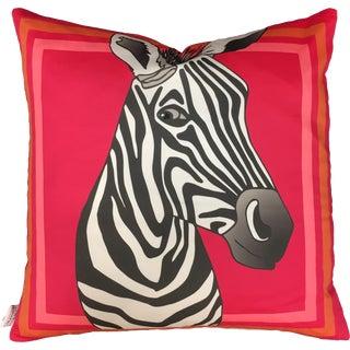 "Zebra in Raspberry 22"" Pillow For Sale"