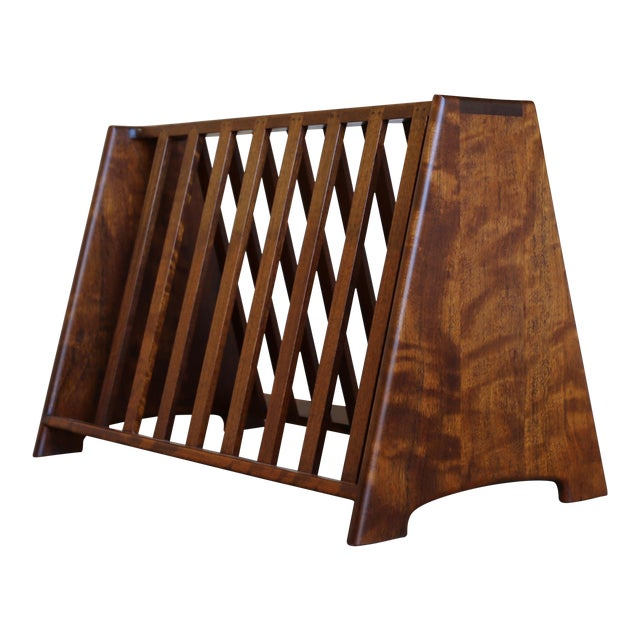 Mid 20th Century John Nyquist Handcrafted Shedua Wood Magazine Rack For Sale