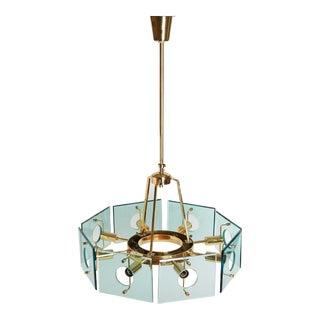 Mid-Century Gino Paroldo Italian Octagon Brass and Glass Chandelier For Sale