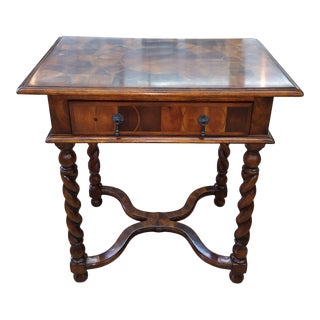 Italian Theodore Alexander Single Drawer Marquetry Table For Sale