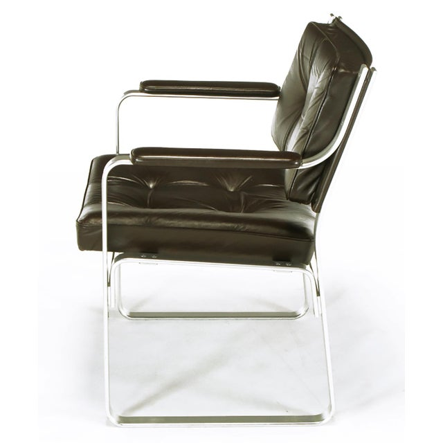 1960s Pair Karl-Erik Ekselius Leather and Aluminum Mondo Armchairs For Sale - Image 5 of 9