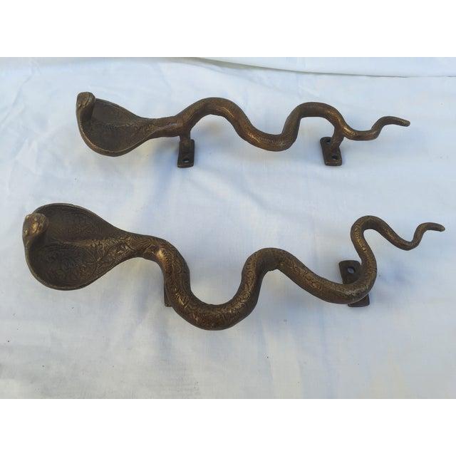 Brass Cobra Door Handles - A Pair - Image 6 of 8