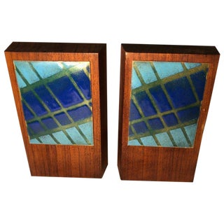 Ernest John Mid-Century Modern Walnut and Enamel Bookends - a Pair For Sale