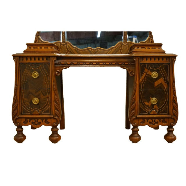 """Late 20th Century Bassett Furniture French Regency Style 47"""" Vanity With Mirror For Sale - Image 5 of 13"""