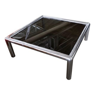 John Mascheroni Signed Aluminum Table With New Bronze Colored Glass For Sale