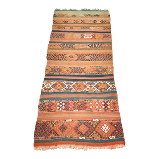 Early 1900s Caucasian Kilim Rug - 3′ × 7′ For Sale