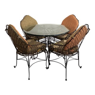 Iron Pedestal Table Glass Top Dining Set - Custom Upholstory For Sale