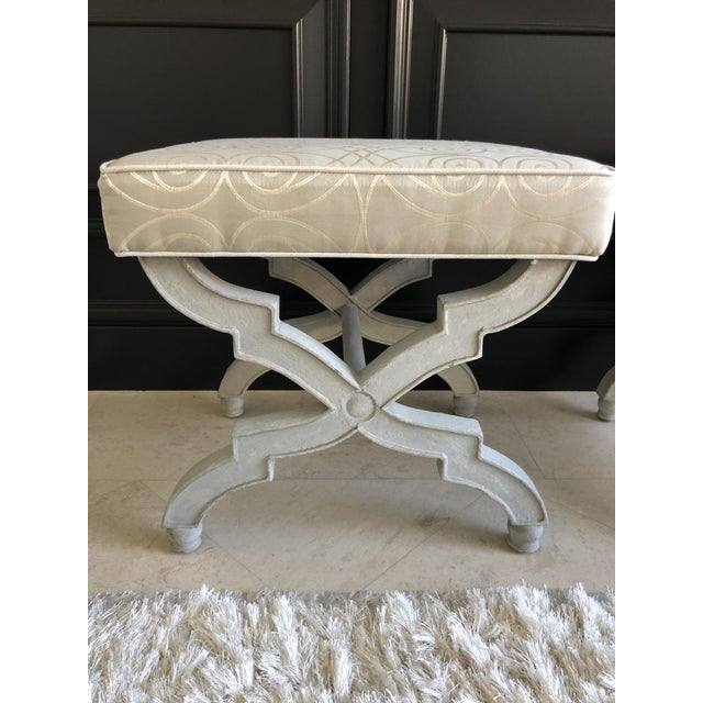 Transitional X Benches With Baker Upholstery - a Pair For Sale - Image 9 of 9