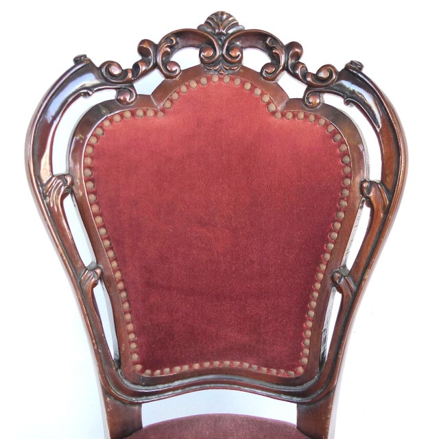 Fabric Louis XV Style Mahogany Dining Chairs With Carved Pierced Backs-Set of 6 For Sale - Image 7 of 12