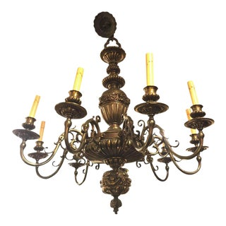 An Nine Arm Renaissance Style Cast Repousse Design Large Bronze Chandelier