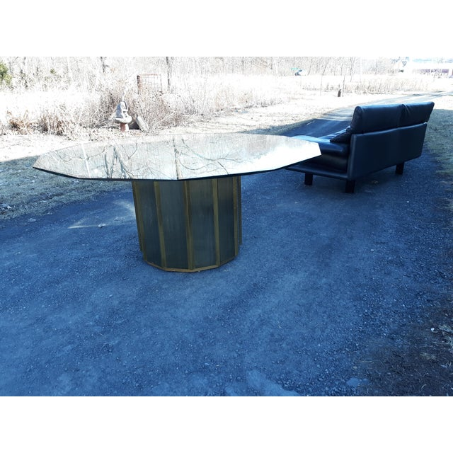 Mastercraft Brass Octagonal Shape Faceted Dining Table For Sale - Image 11 of 13